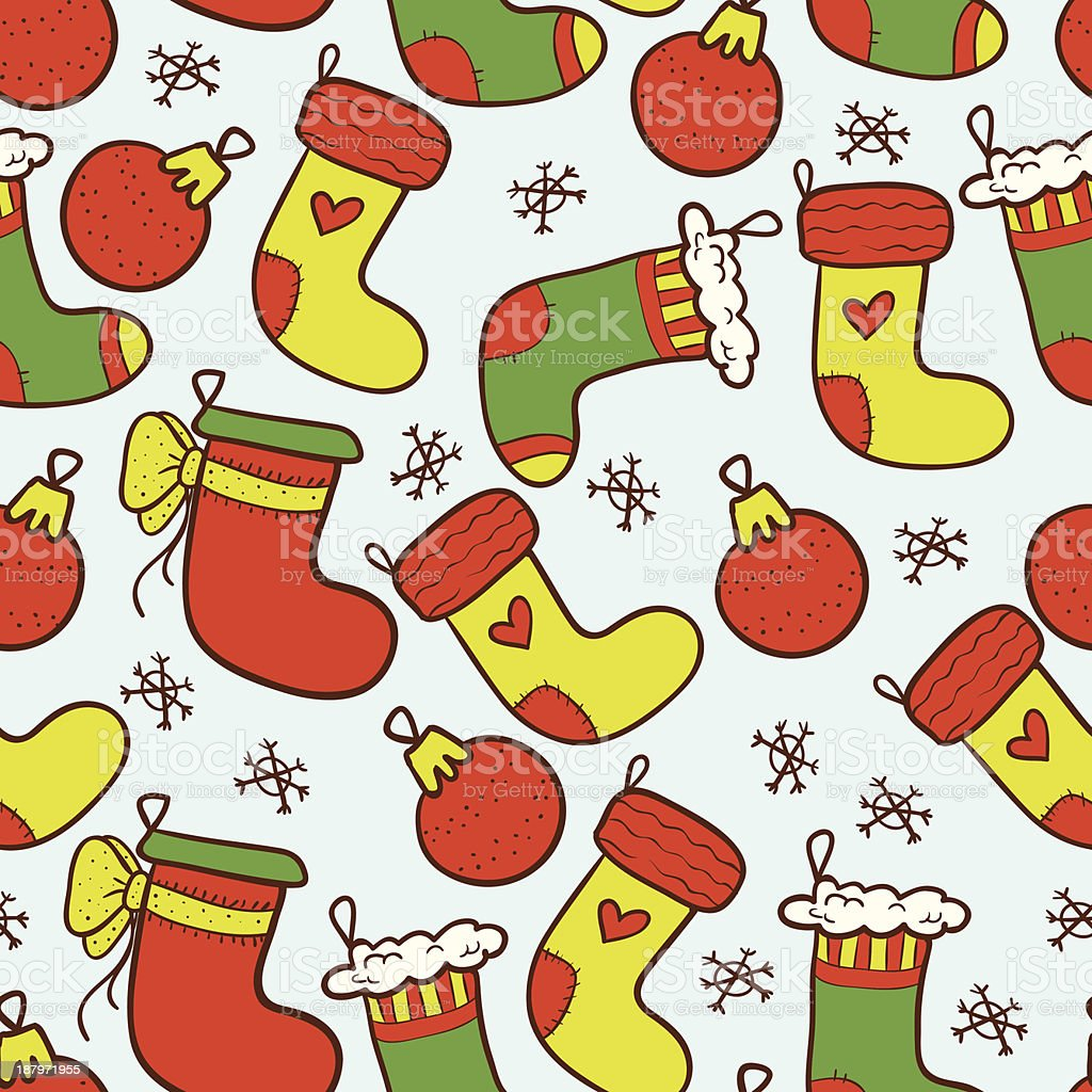 Colourful Christmas stockings seamless background royalty-free stock vector art