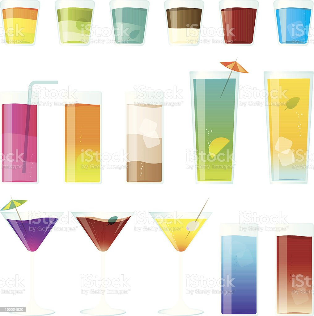 Colourful cocktail and shot glasses vector art illustration