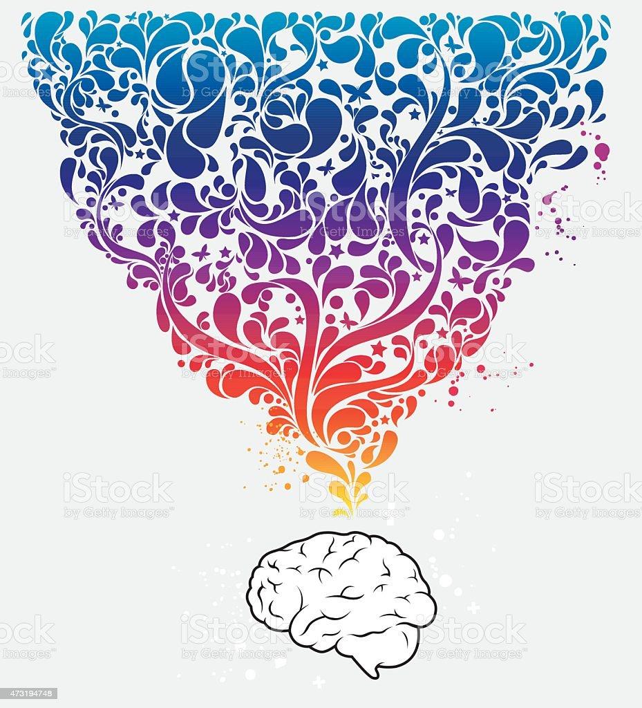 Colourful creative brain vector art illustration