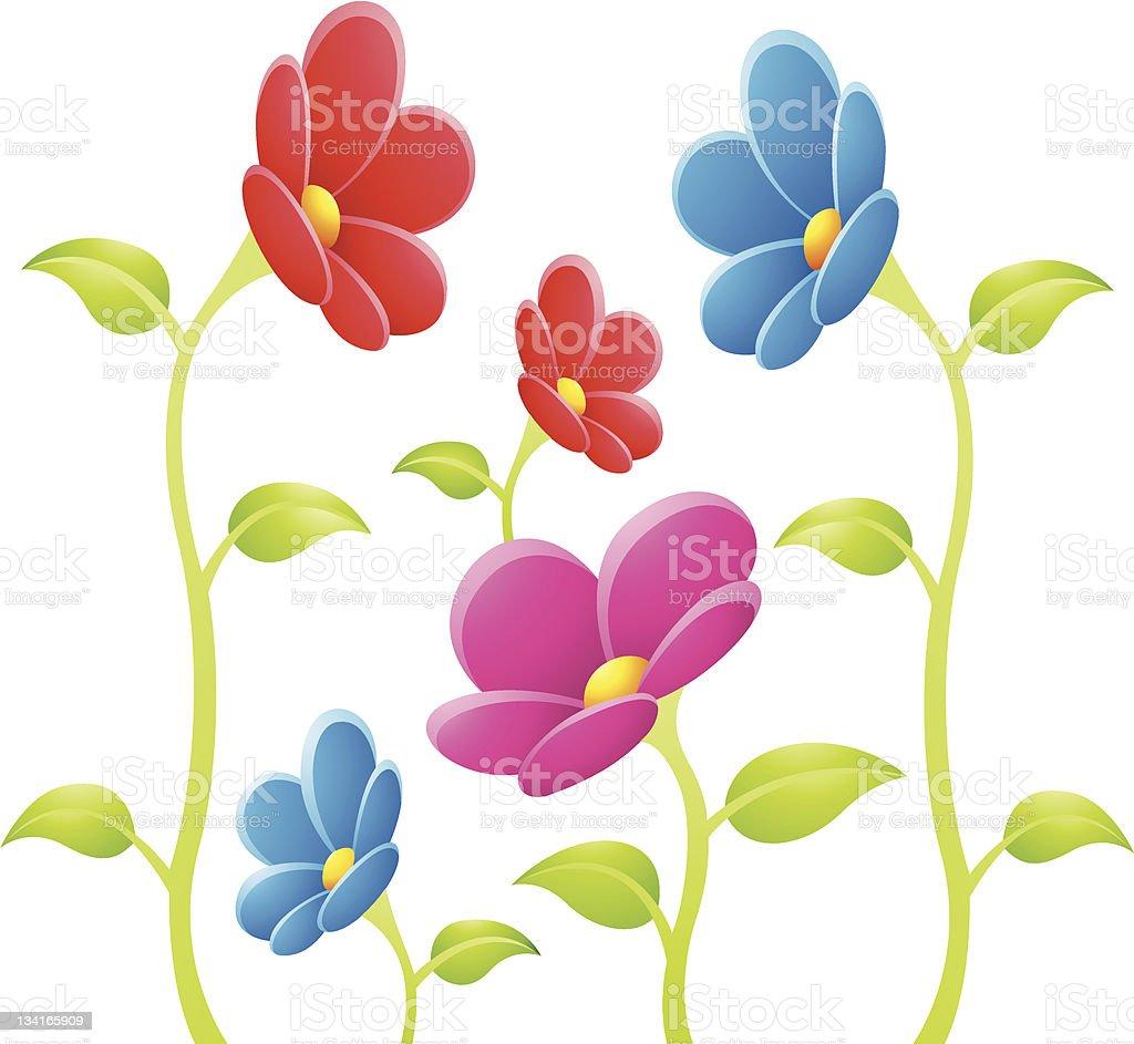 Fleurs colorées stock vecteur libres de droits libre de droits