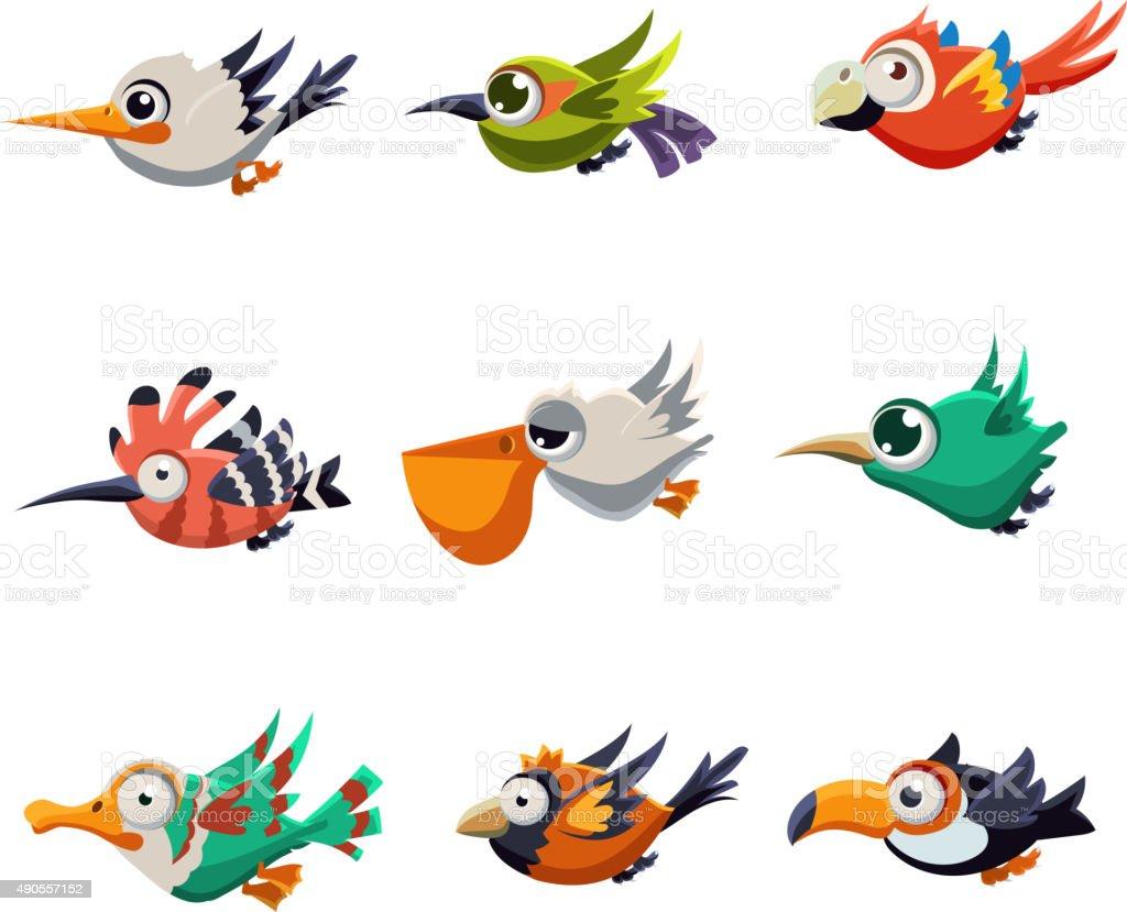 Colourful Flying Birds in Profile Vector Illustration Set vector art illustration