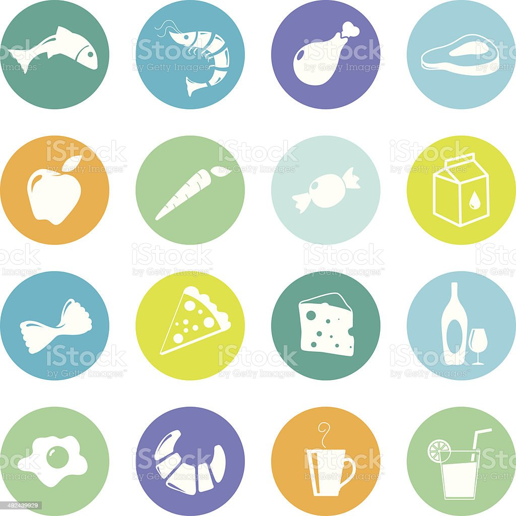 Colourful food grocery icons vector art illustration