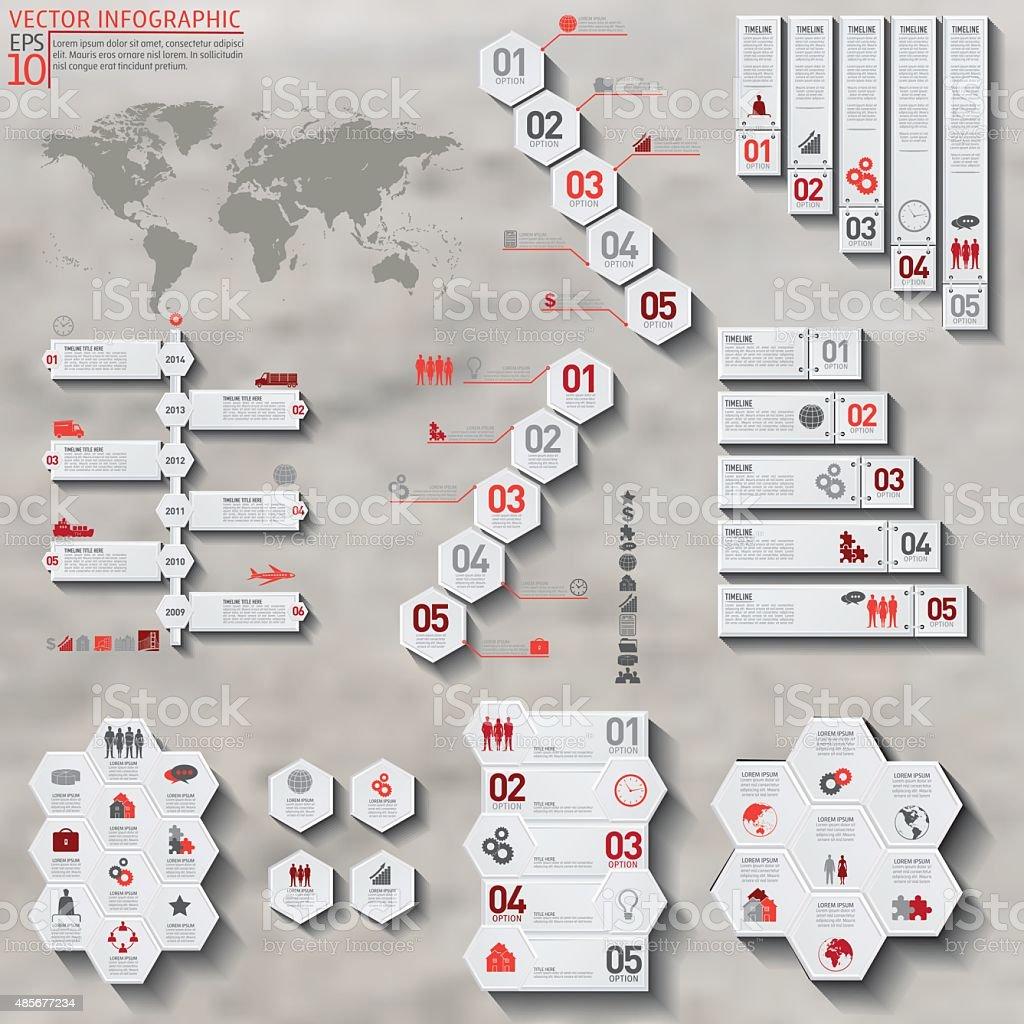 Colourful Geometric Hexagon Infographic On Concrete Background vector art illustration