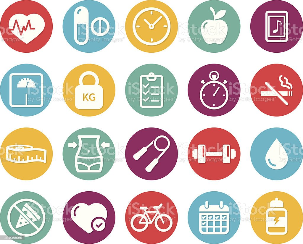 Colourful healthy lifestyle and fitness icons royalty-free stock vector art