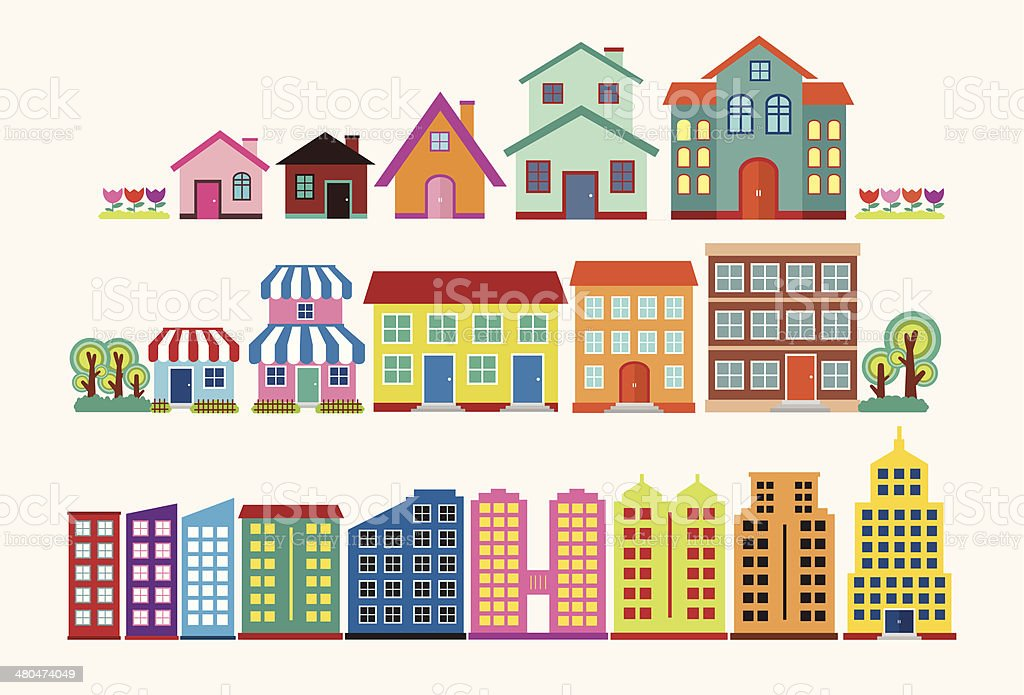 Colourful house and building collection set vector art illustration