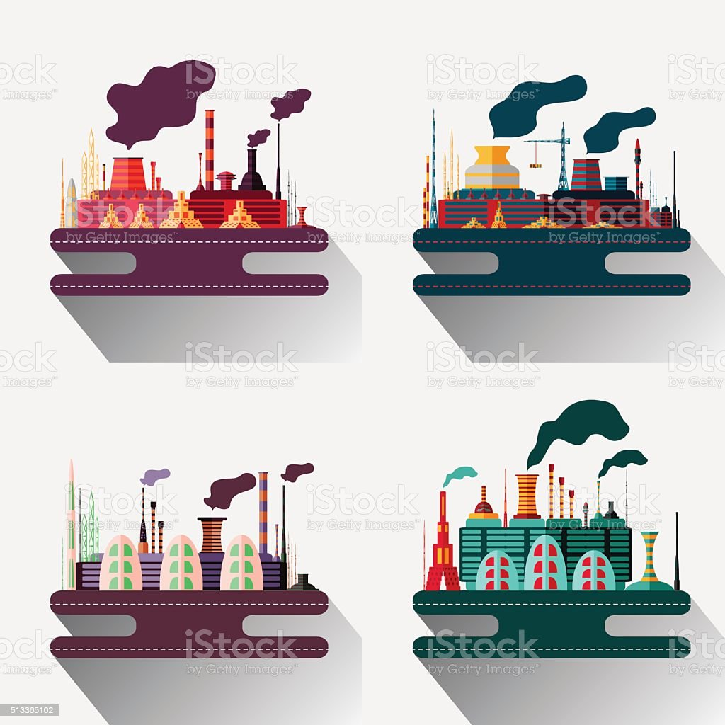Colourful illustration of an industrial factory vector art illustration