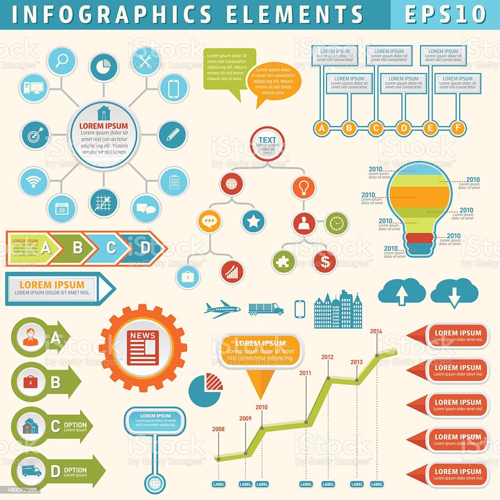 Colourful Infographic Timeline Elements Set vector art illustration