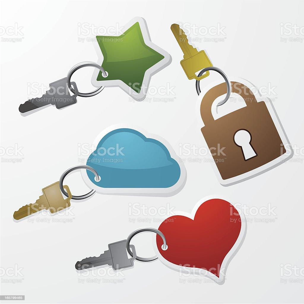 Colourful keychains vector art illustration