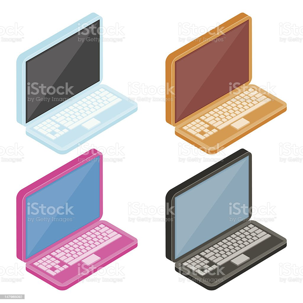 Colourful Laptops royalty-free stock vector art