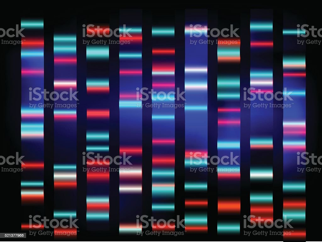 colourful medical dna results with black background vector art illustration