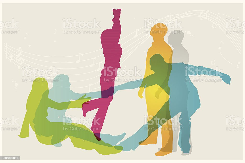 Colourful modern dancer silhouettes royalty-free stock vector art