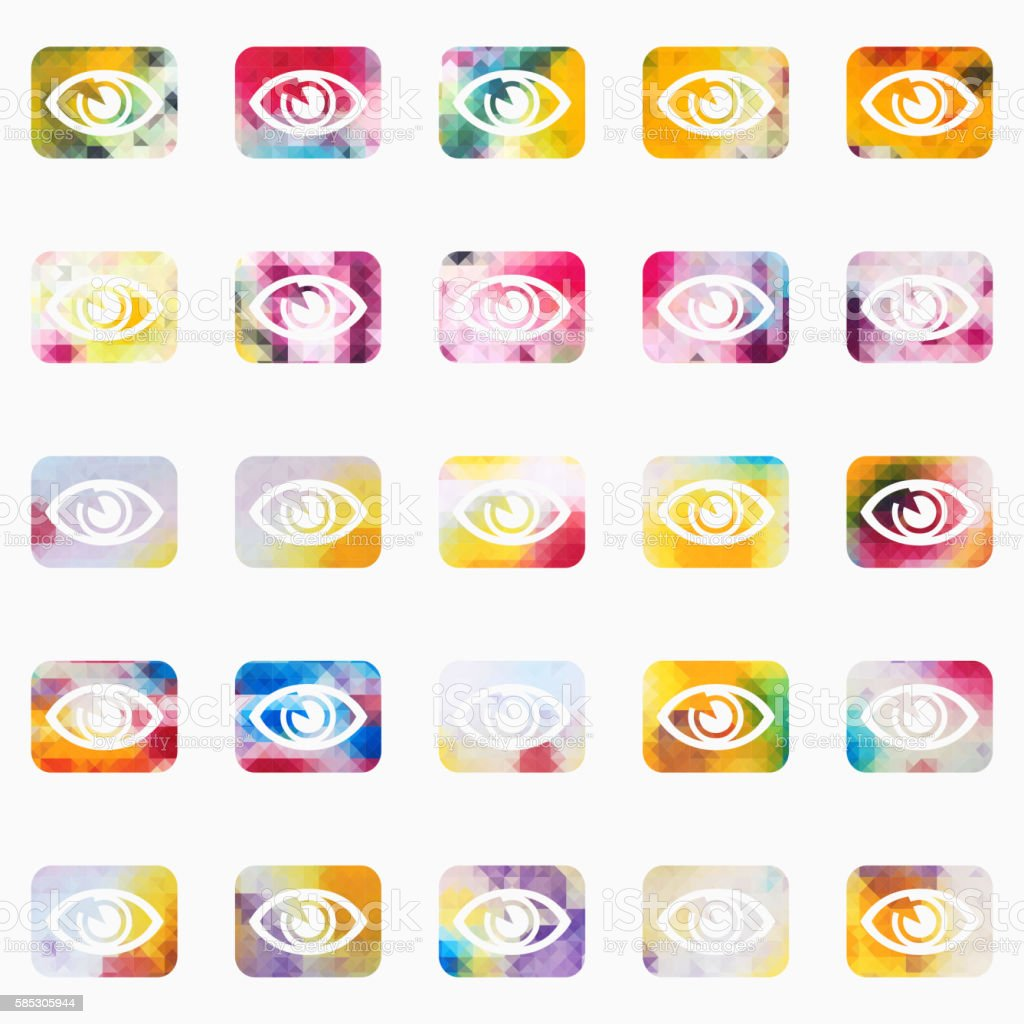 colourful mosaic eye pattern buttons vector art illustration