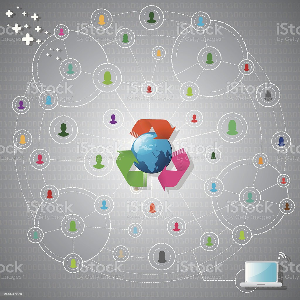 Colourful network with globe royalty-free stock vector art