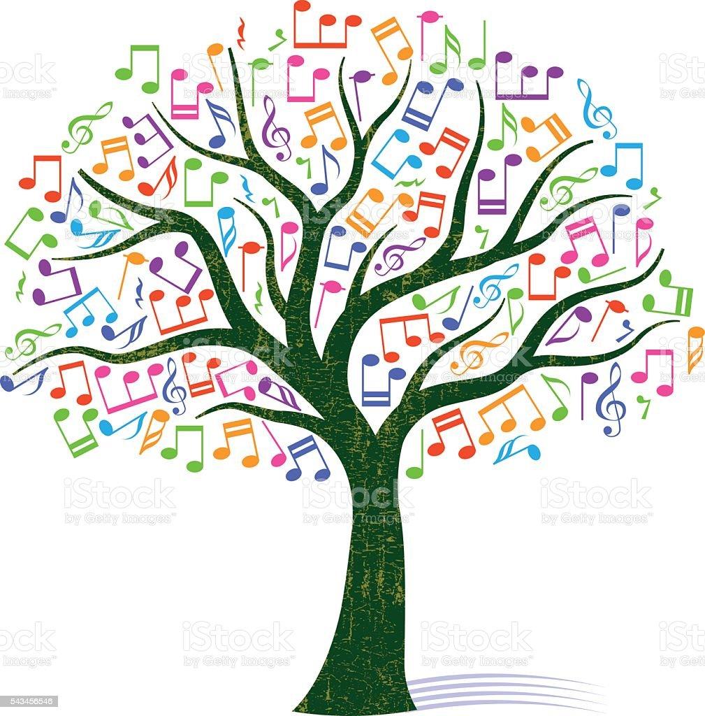 Colourful note tree illustration vector art illustration