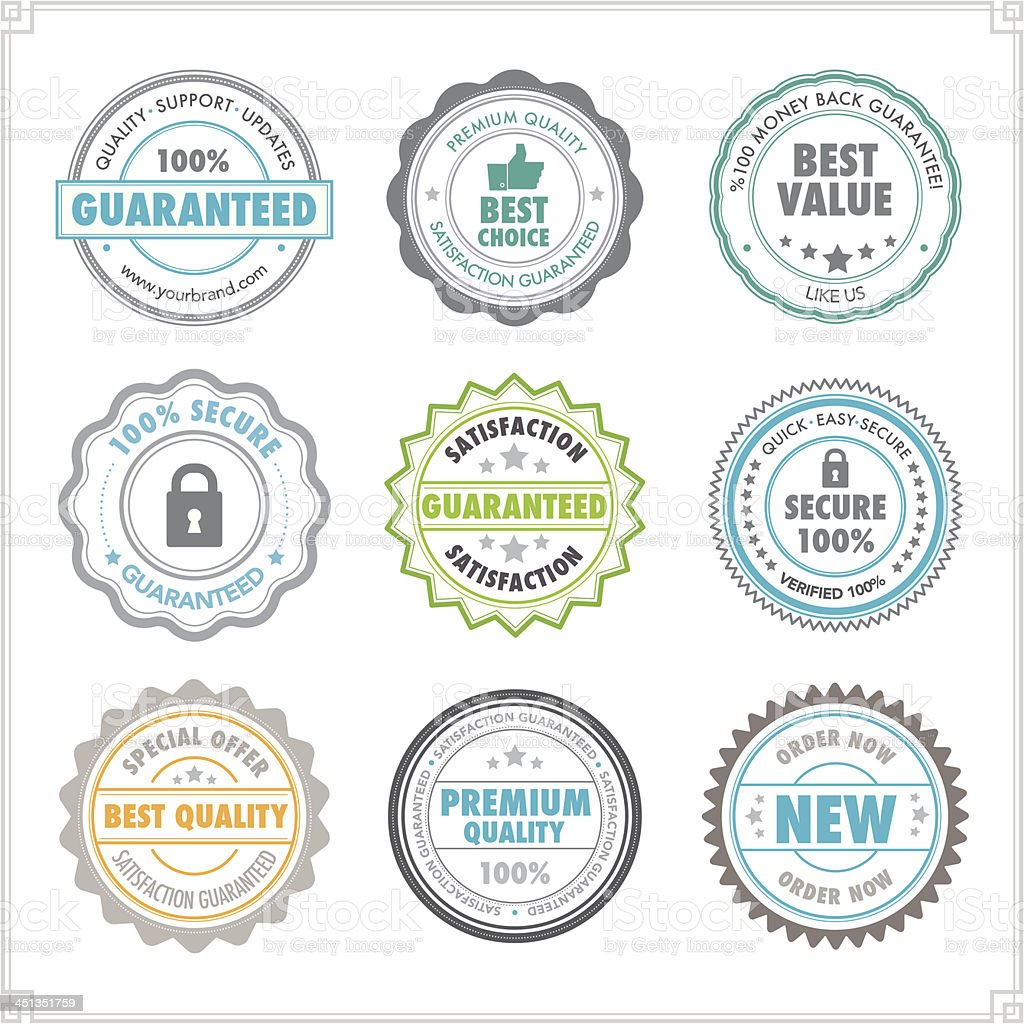Colourful product stamps vector art illustration