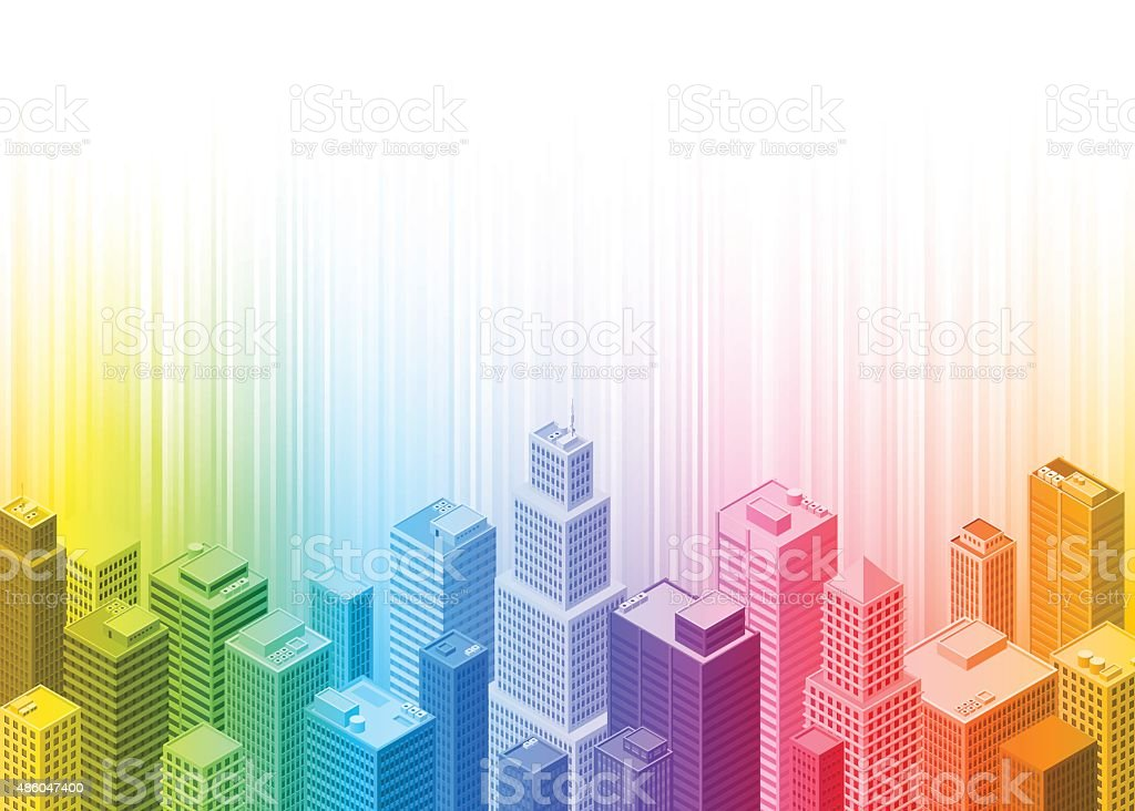 Colourful rainbow city vector art illustration