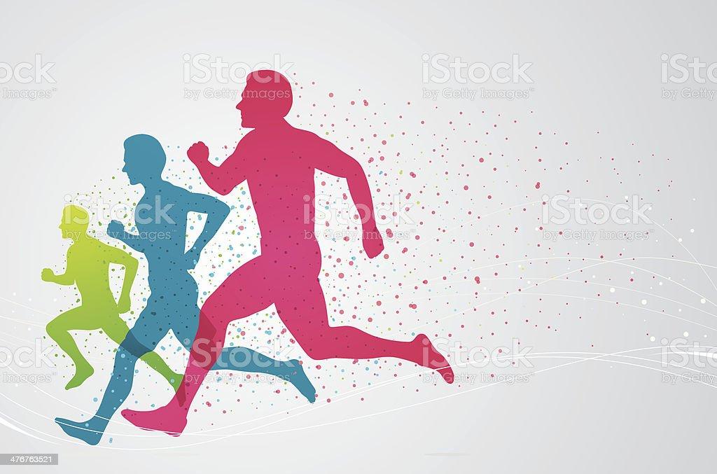 Colourful runners vector art illustration