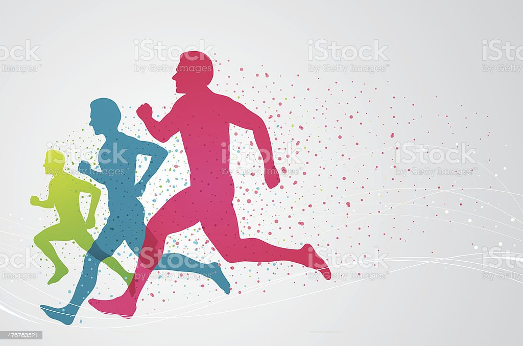 Colourful runners vector art illustration