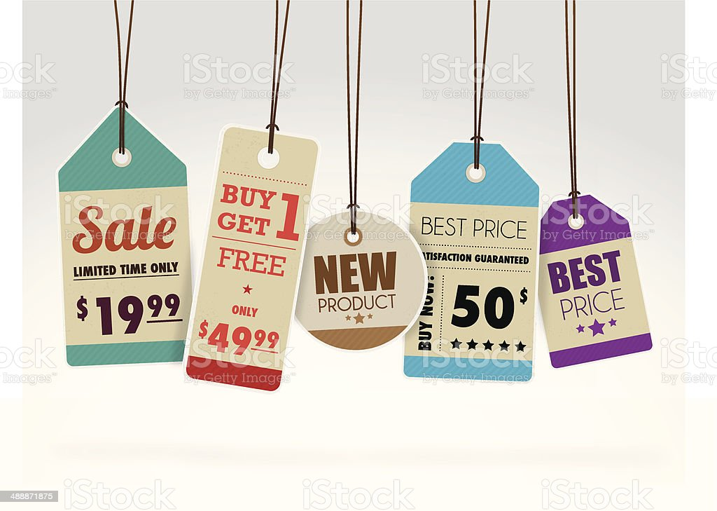 Colourful sale labels vector art illustration