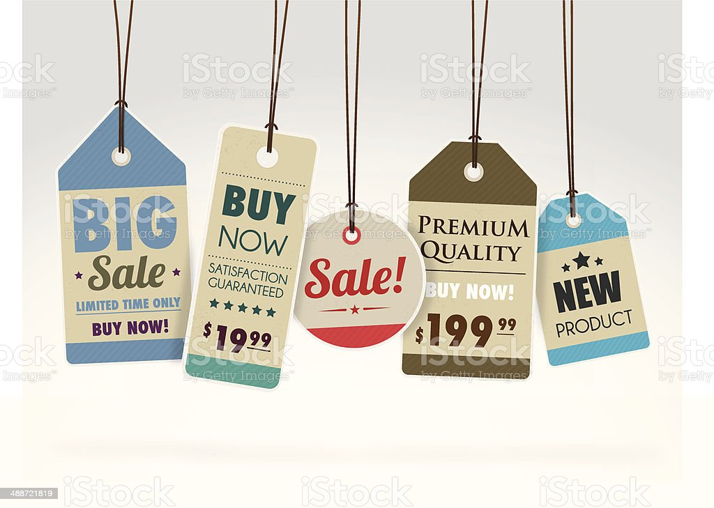 Colourful sale tags royalty-free stock vector art