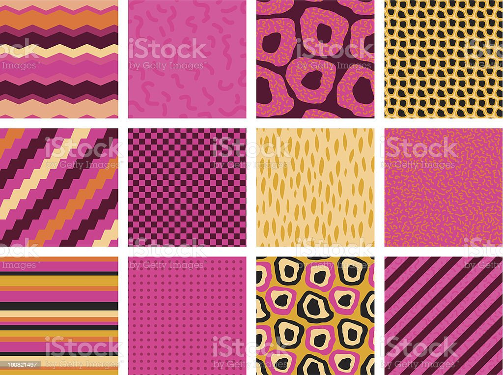 Colourful seamless patterns royalty-free stock vector art