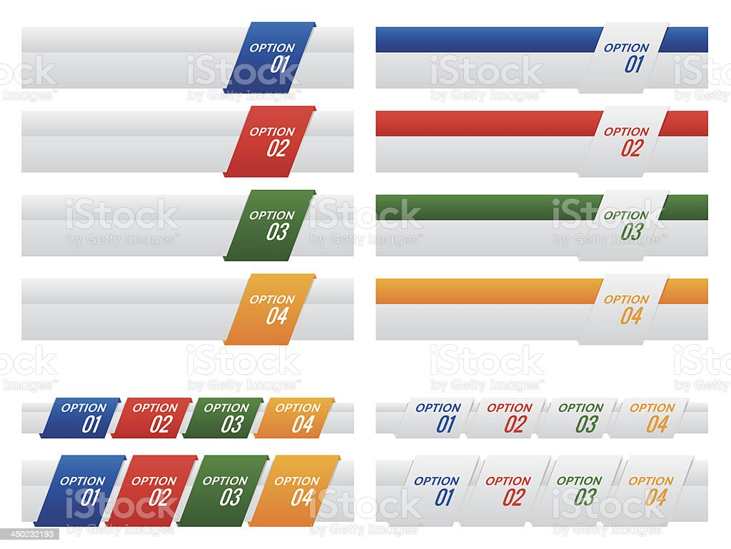 Colourful Set of Option Labels and Tabs royalty-free stock vector art