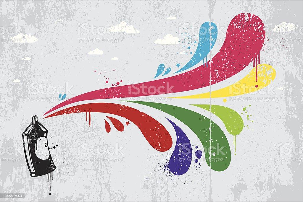 Colourful spray graffiti background vector art illustration
