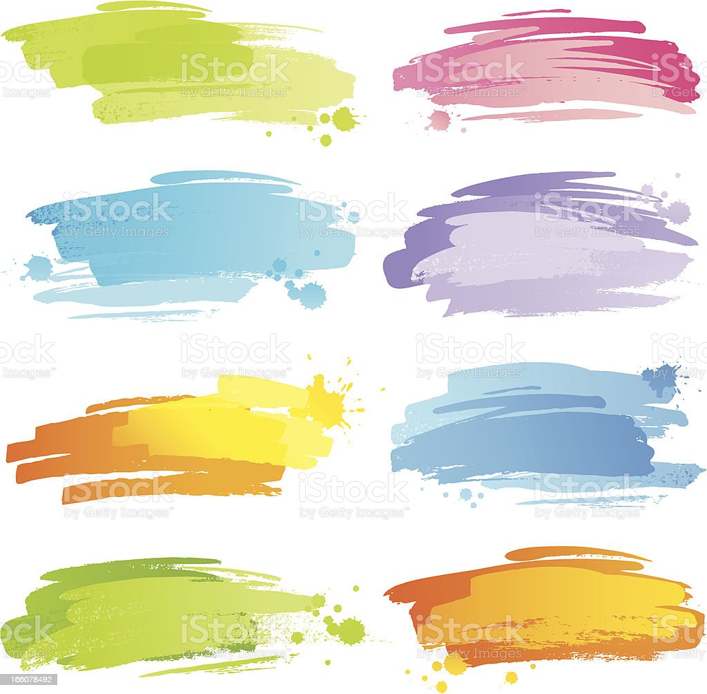 Colourful strokes with blobs vector art illustration