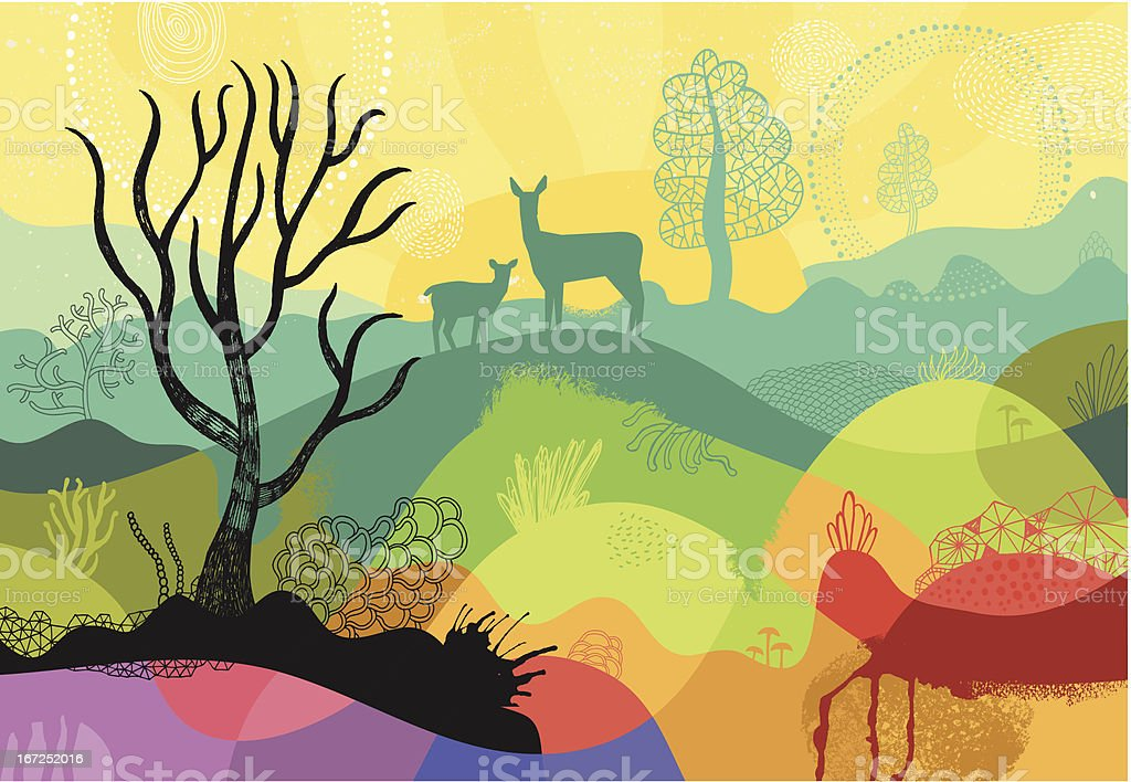 Colourful sunny landscape with plants, trees and deers vector art illustration