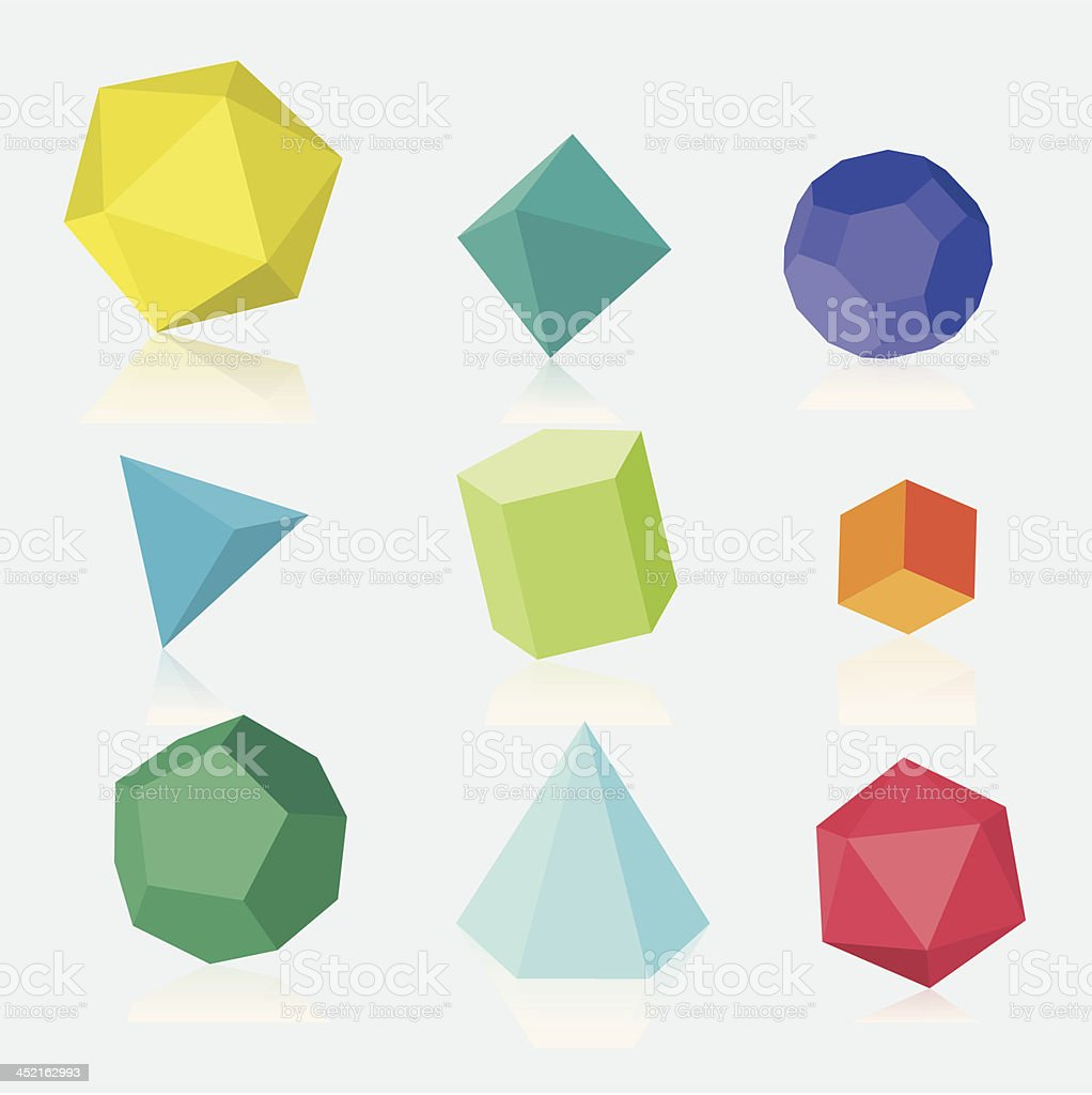 Colourful three dimensional solids vector art illustration