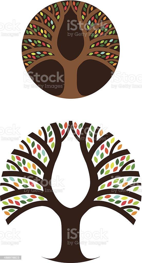 Colourful tree circle royalty-free stock vector art