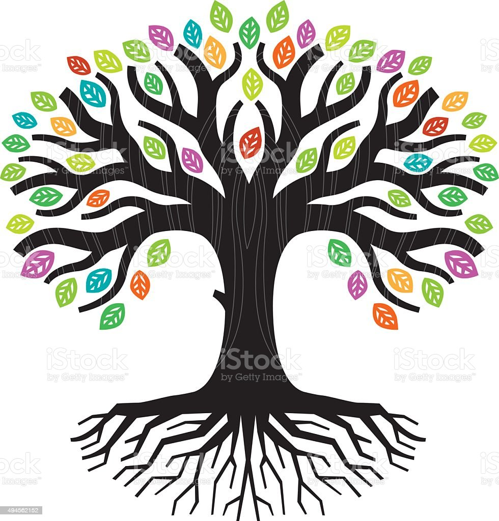Colourful tree illustration vector art illustration