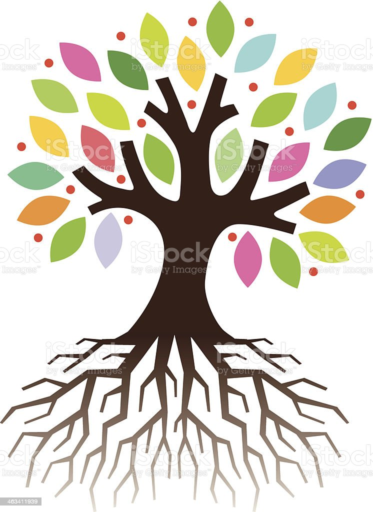 Colourful tree roots vector art illustration