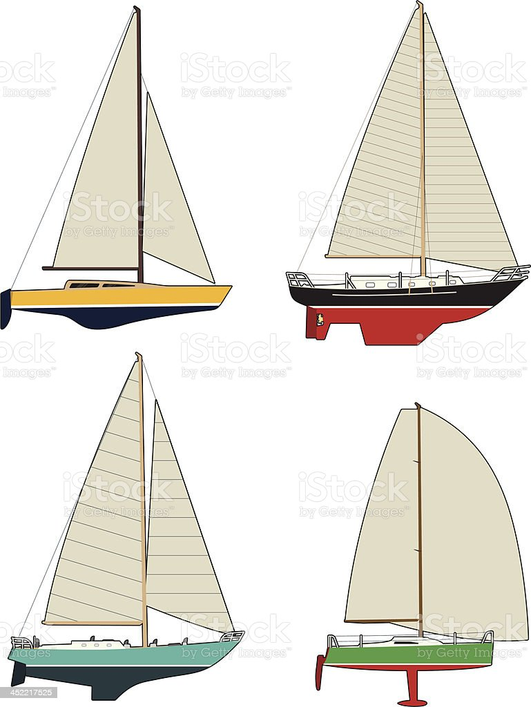Colourful Yachts royalty-free stock vector art