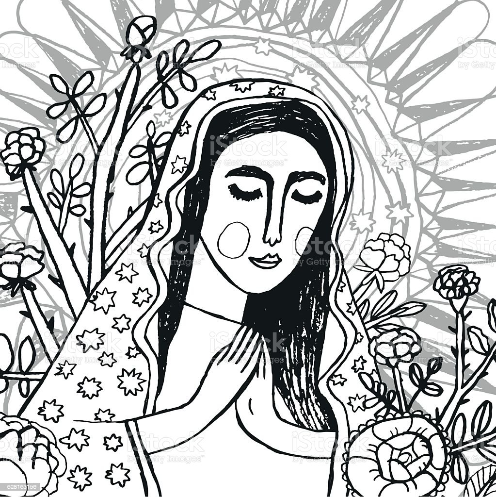 Colouring page of Virgin Mary vector art illustration