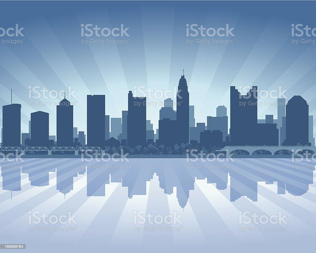 Columbus City skyline silhouette vector art illustration