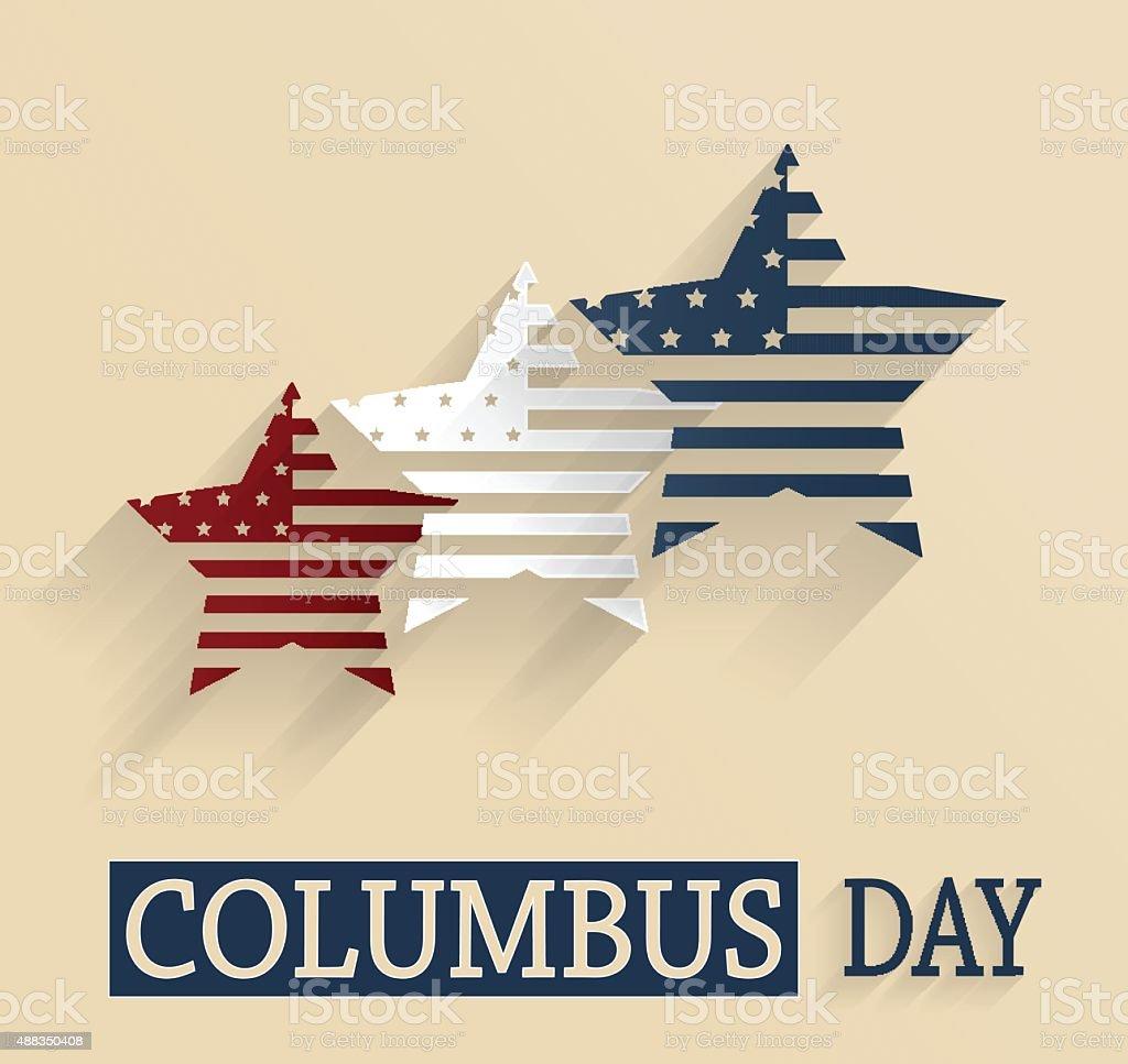 Columbus Day poster. Red, white and blue stars vector art illustration