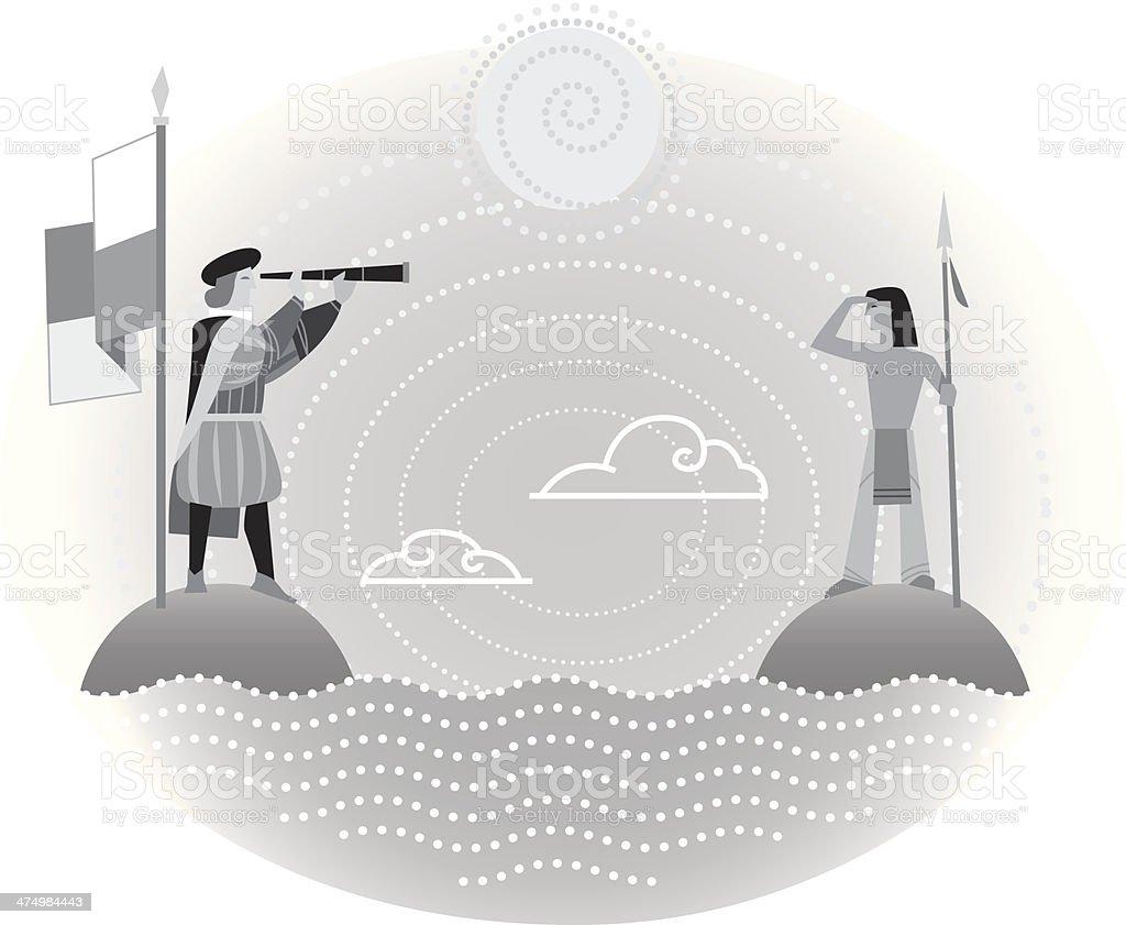 Columbus Indian royalty-free stock vector art