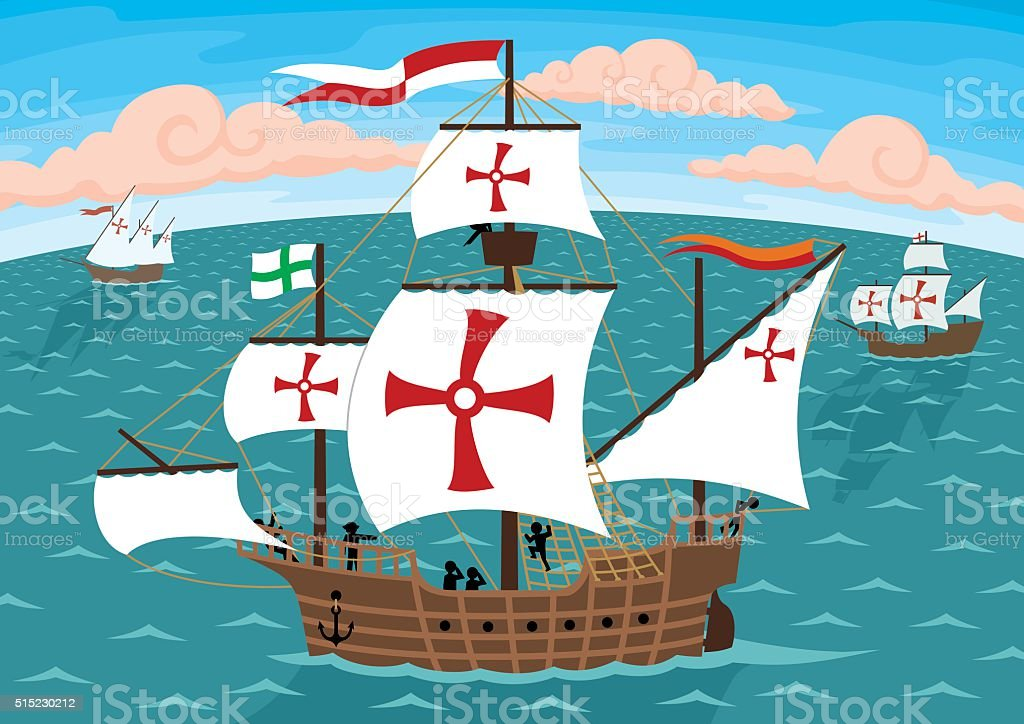 Columbus Ships vector art illustration