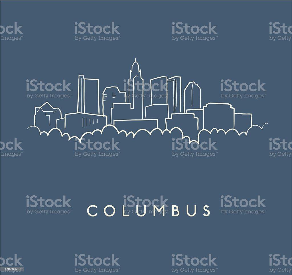 Columbus Skyline Sketch vector art illustration
