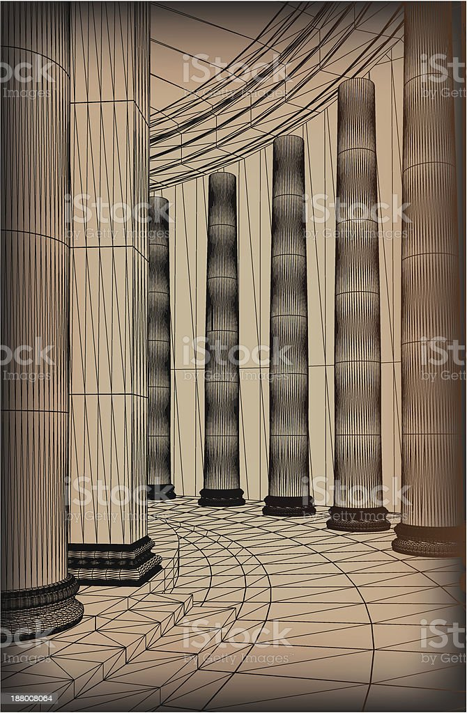 Column Array With A Greek Doric-style Base vector art illustration