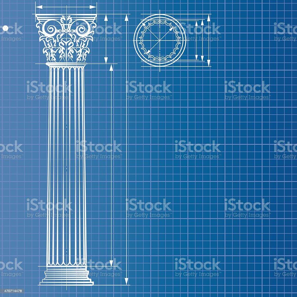 Column blueprint vector art illustration