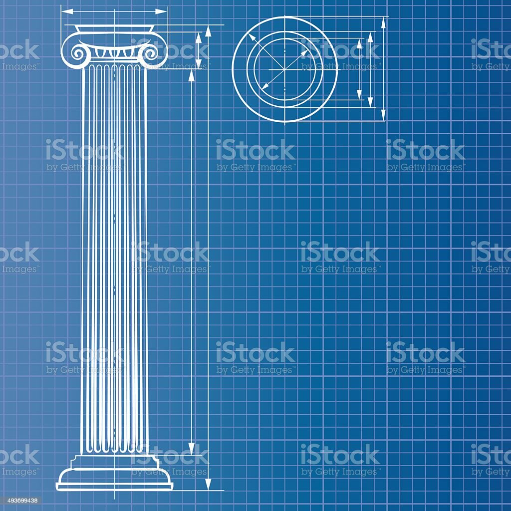 Column blueprint vector art illustration