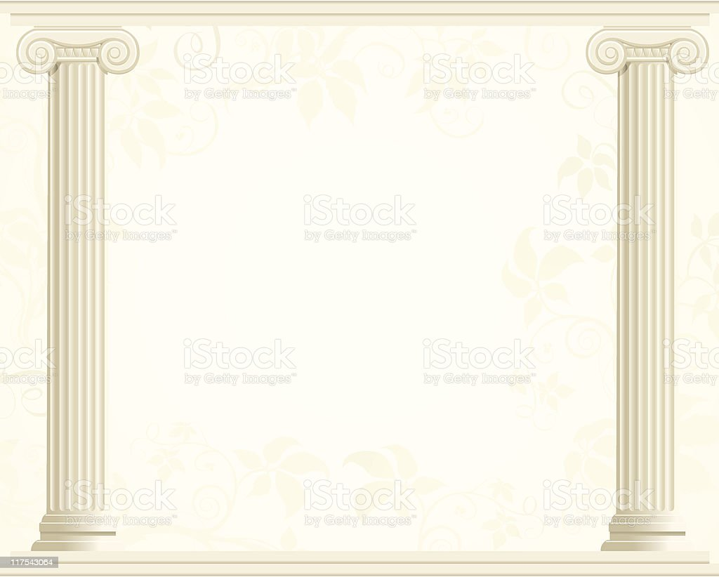 Column Border with Ivy Background vector art illustration