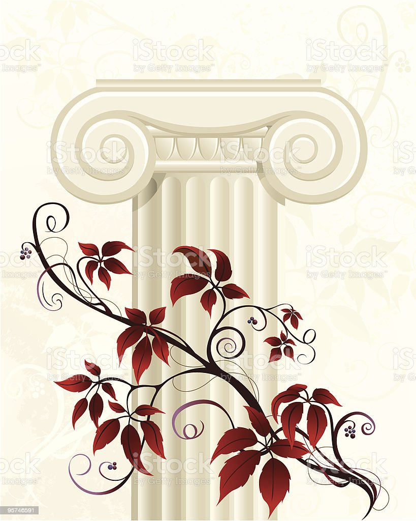 Column Capital with Virginia Creeper vector art illustration