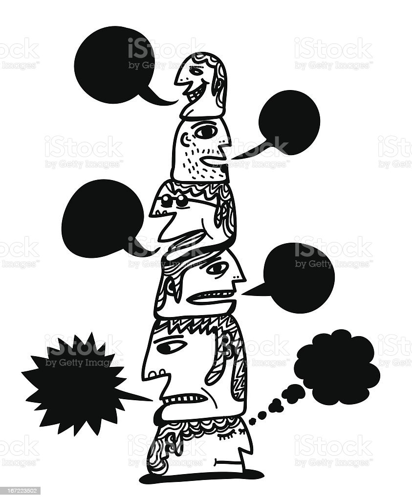 column of talking heads royalty-free stock vector art