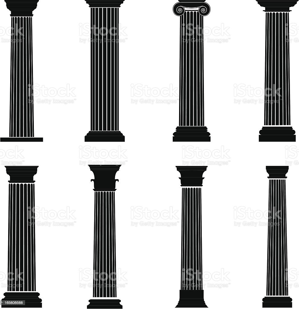 Column Silhouettes vector art illustration