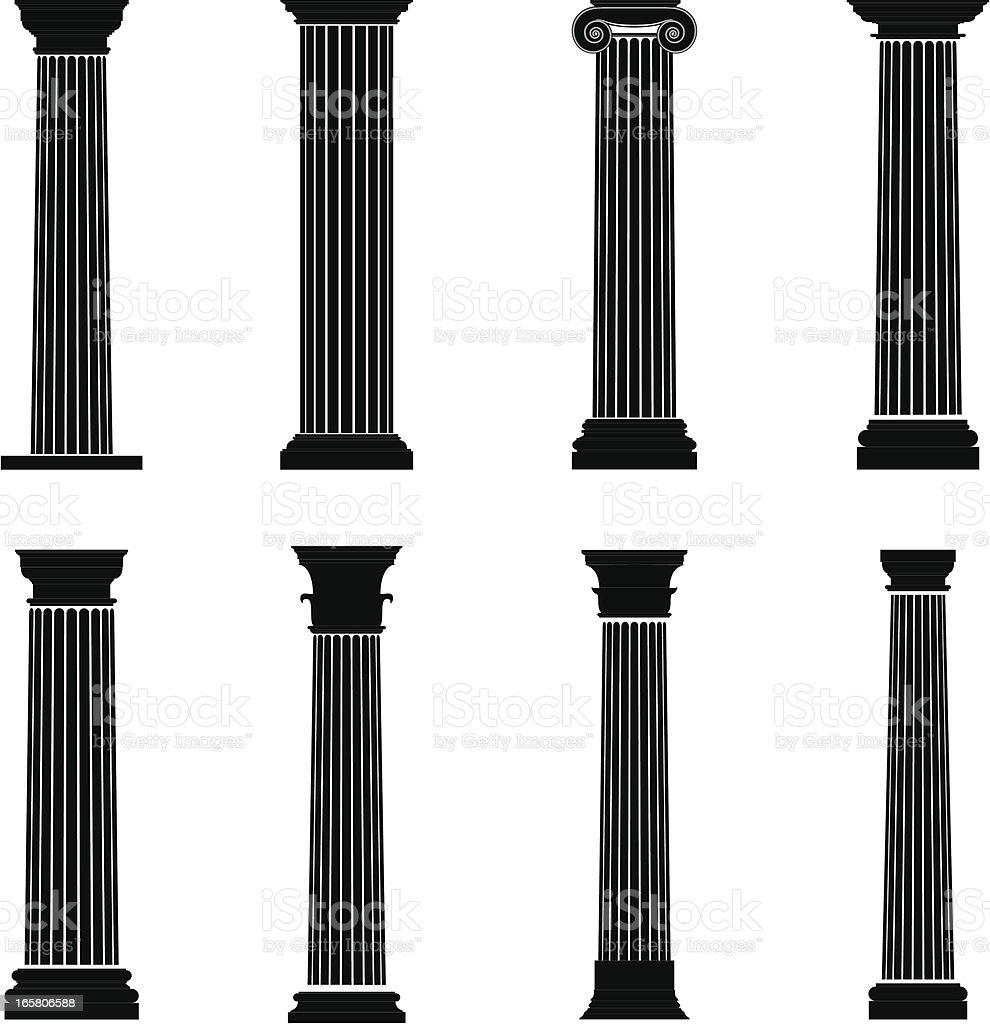 Column Silhouettes vector art illustration