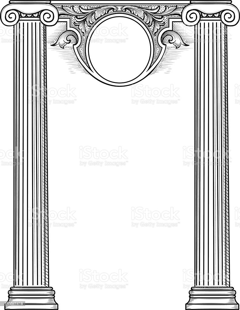 Columns and Banner royalty-free stock vector art