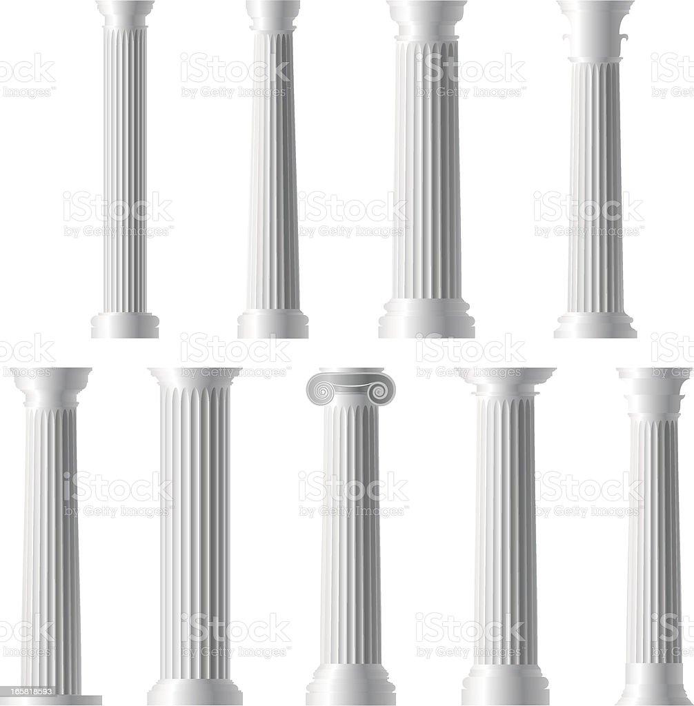 Columns and Pillars vector art illustration